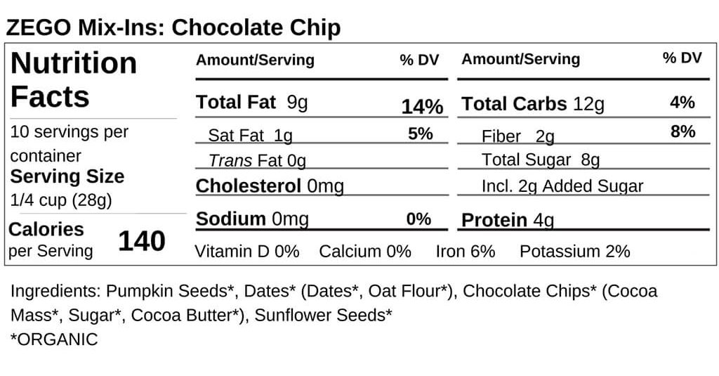 Mix Ins Chocolate Nutrition Facts