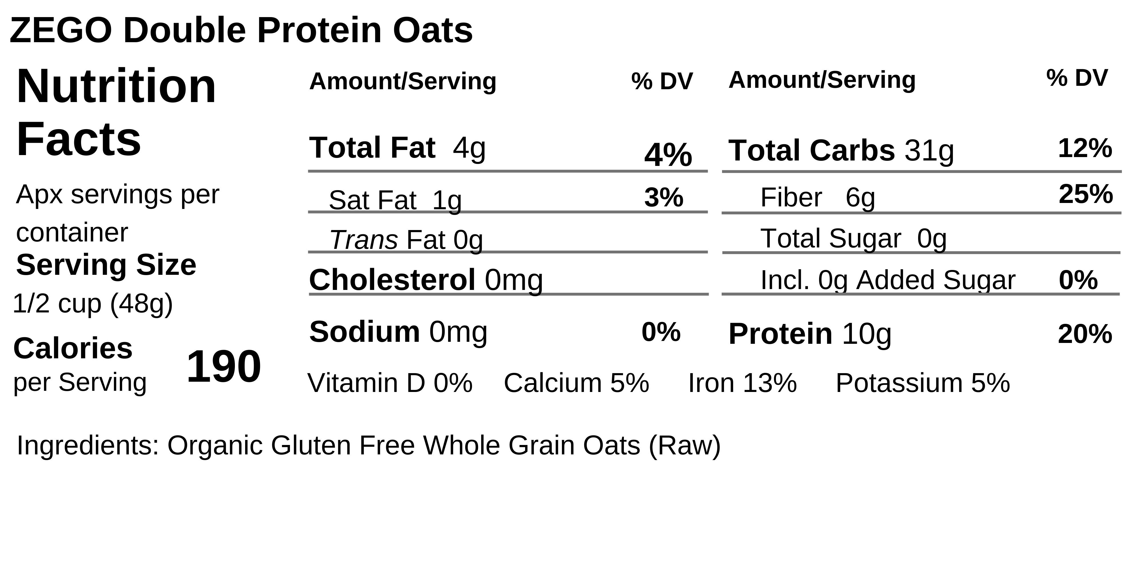 Gluten Free Double Protein Oats Nutrition
