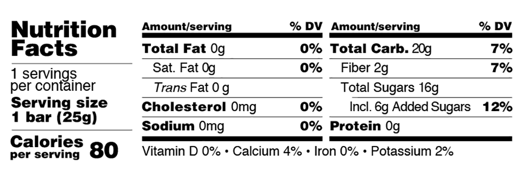 Just Fruit Cherry Nutrition Facts