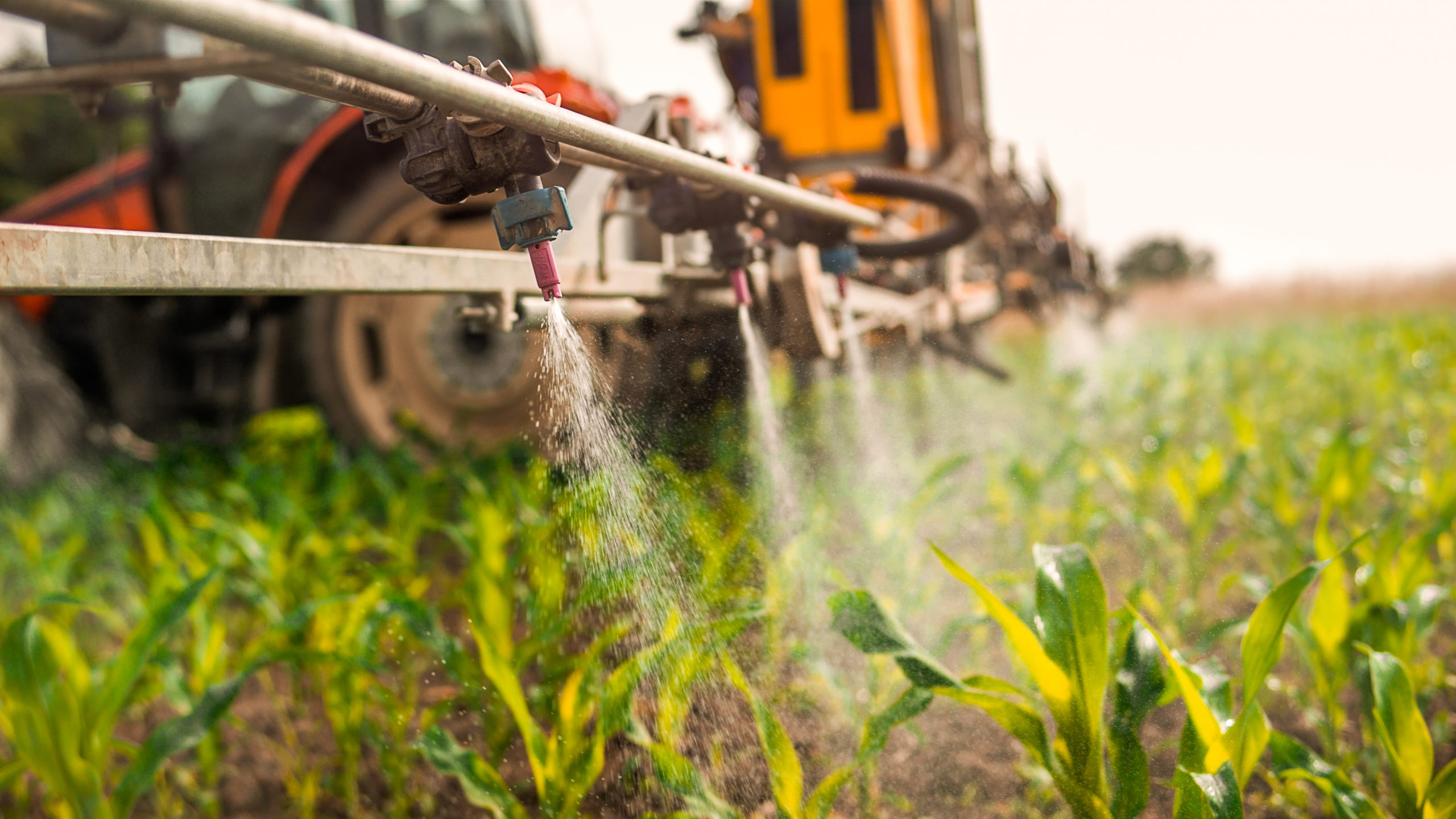 Commercial application of pesticides on crops